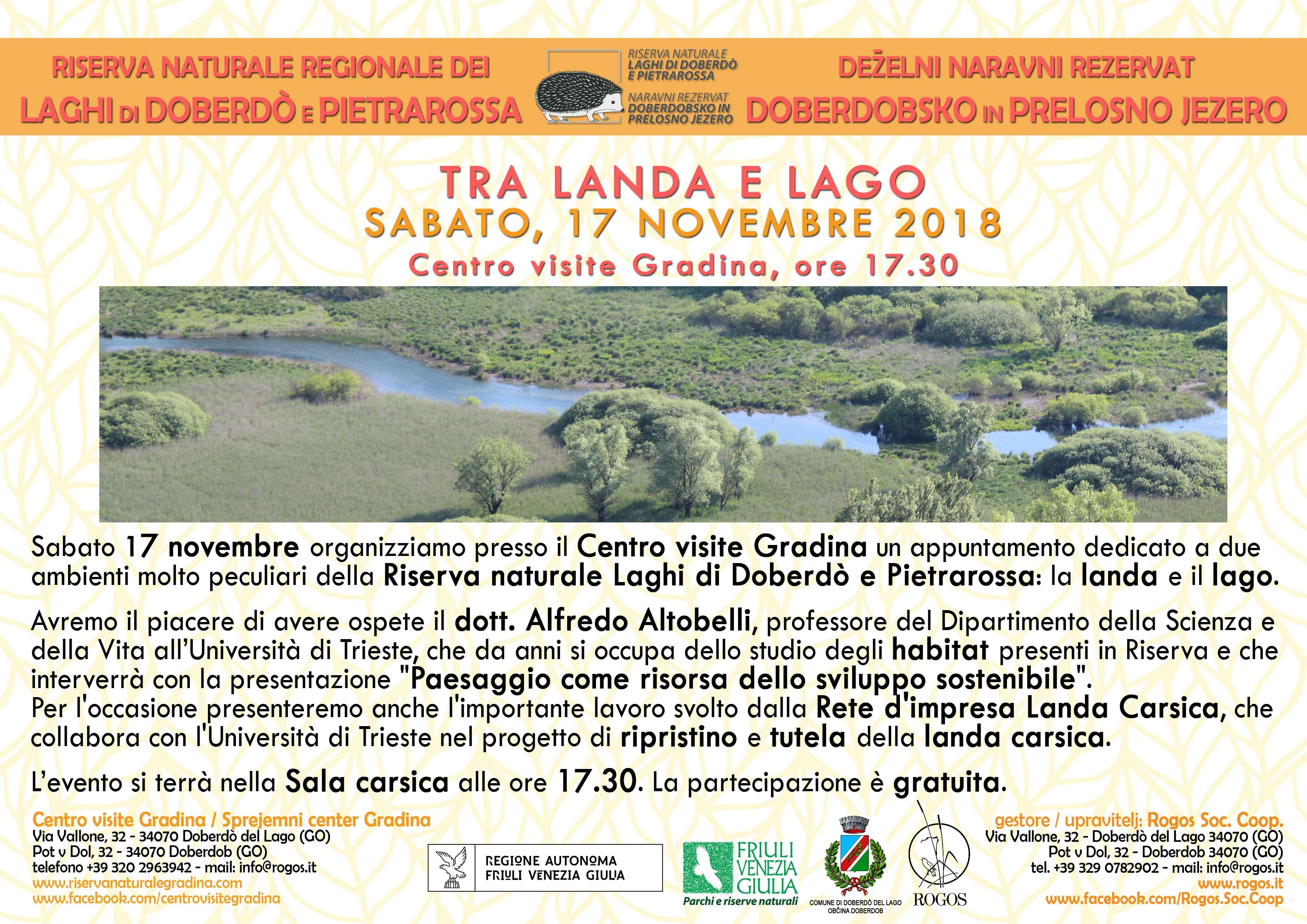 """La Riserva Naturale regionale dei Laghi di Doberdò e Pietrarossa presenta:  """" Tra Landa e Lago"""""""